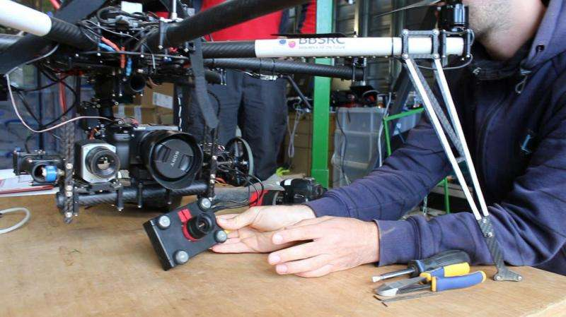 Cameras can be attached to the octocopter in a modular fashion.