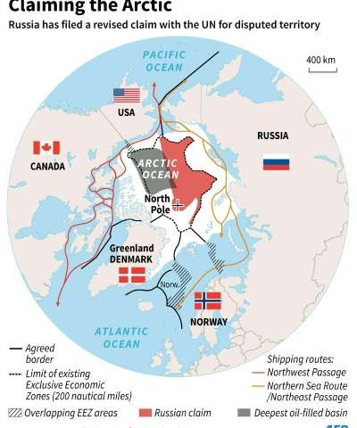 arctic territorial claims map Russia Files Un Claim Over Vast Swathe Of Arctic arctic territorial claims map