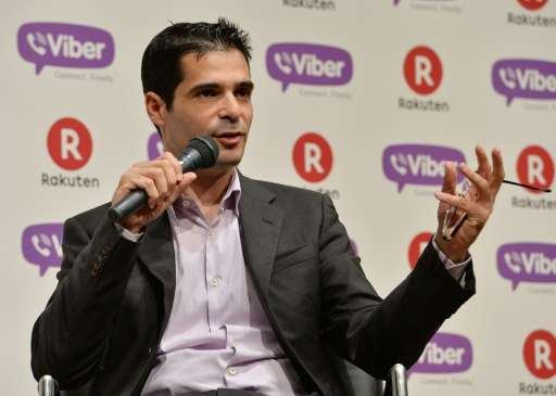 CEO of application maker Viber Media Talmon Marco announces Japan's online shopping giant Rakuten's acquisition of his company f