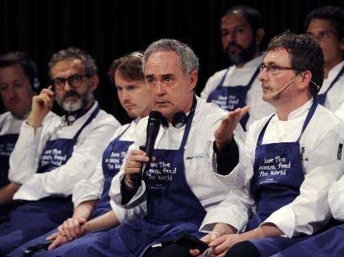 "Chef Ferran Adria (2nd R) during a conference supporting Oceana's worldwide campaign ""Save the Oceans: Feed the World"""