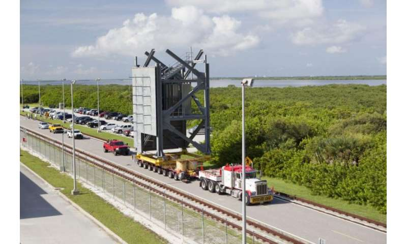 Crew access tower stacking at Cape Canaveral Air Force Station begins