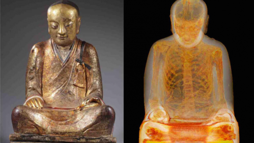 CT scan taken of mummified remains in statue