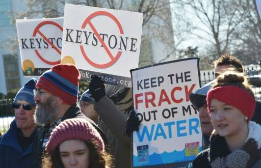 Demonstators protest outside the White House against the building of the proposed Keystone XL oil pipeline in January 2015 in Wa