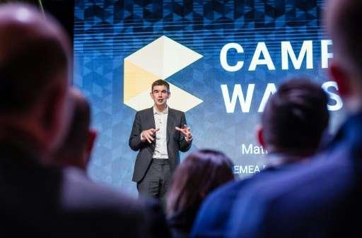 Director of Google Europe, Matt Brittin (C), speaks during the opening of the start-up center Google Campus Warsaw on November 1