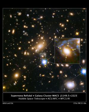 Distant supernova split 4 ways by gravitational lens