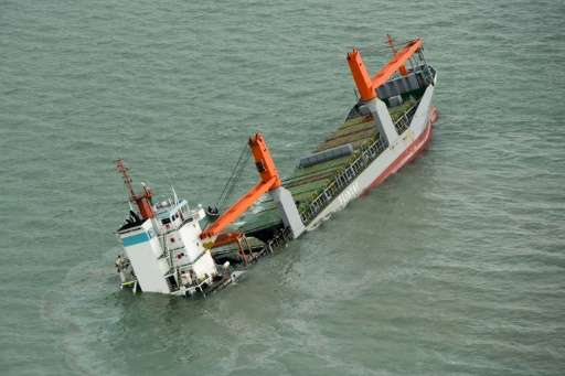 Dutch frighter Flinterstar sinks after colliding with Marshall Island-flagged tanker Al-Oraiq, in the North Sea off the Belgian