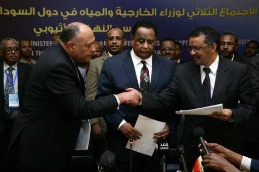 Egyptian FM Sameh Shoukri (L) shakes the hand of Ethiopian FM Tedros Adhanom (R) alongside Sudanese FM Ibrahim Ghandour after si