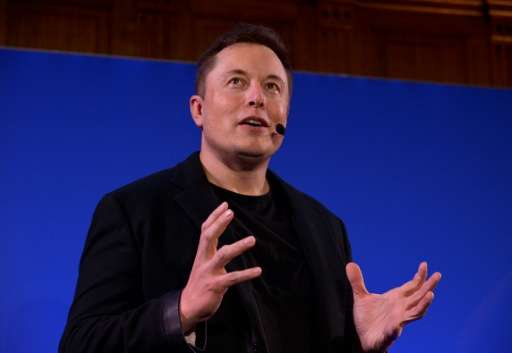 Elon Musk, CEO of US automotive and energy storage company Tesla, presents his outlook on climate change at the Paris-Sorbonne U