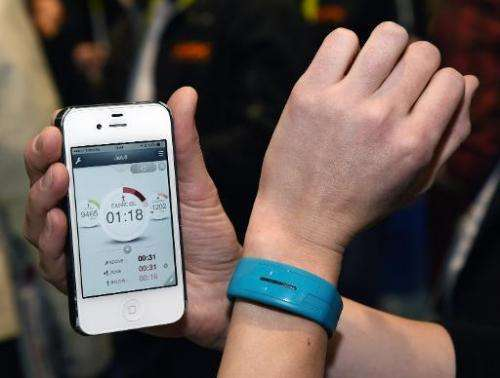 Epson, the Japanese electronics giant, presents fitness band at the 2015 International CES at the Sands Expo and Convention Cent