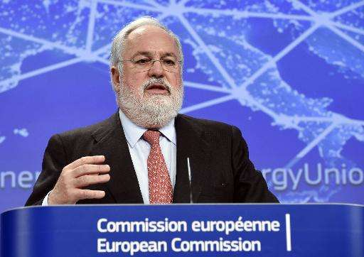 EU Commissioner of Climate Action and Energy Miguel Arias Canete gestures as he speaks at the EU Headquarters in Brussels on Feb