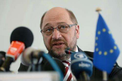 European Parliament President Martin Schulz answers questions at a press conference in Beijing on March 17, 2015
