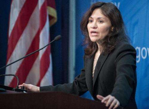 Federal Trade Commission Chairwoman Edith Ramirez conducts a press conference at FTC headquarters in Washington, DC on January 1