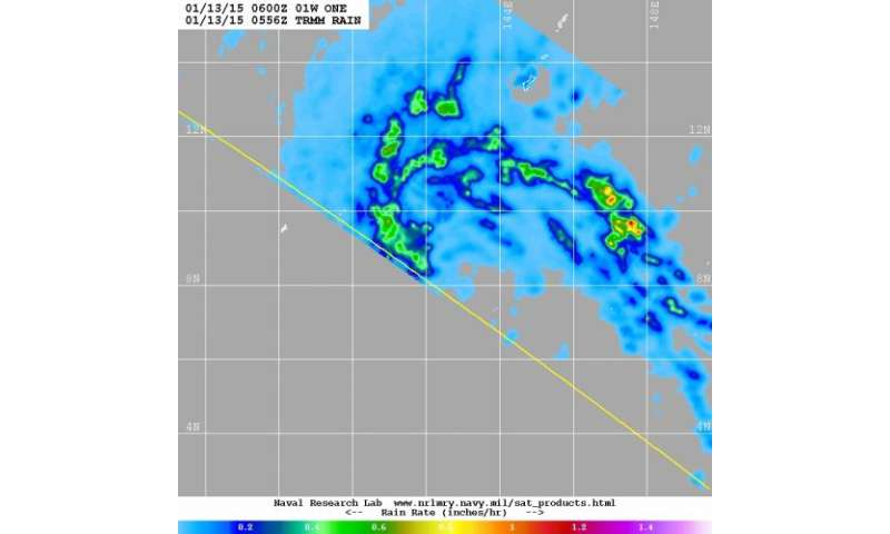 First Northwestern Pacific tropical depression has moderate rainfall