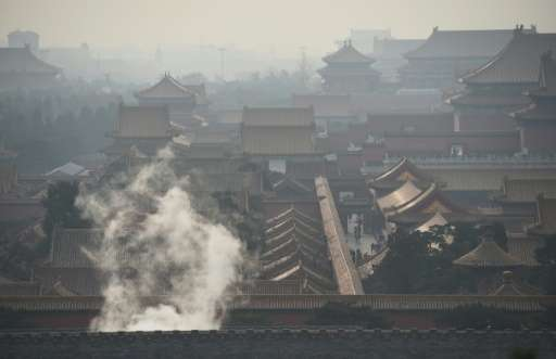 Forbidden City in Beijing, once the home of China's emperors, seen on a smoggy day, on December 19, 2015