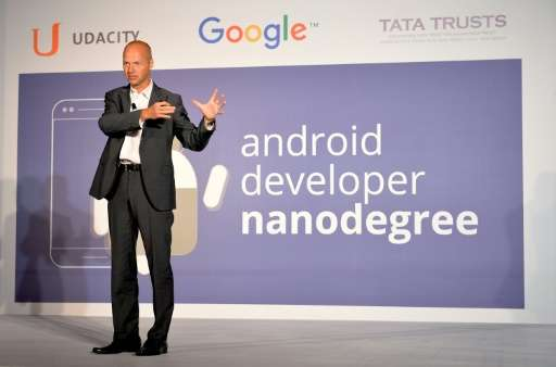 Founder and CEO of Udacity Sebastian Thrun addresses a press conference during the launch of Android Nanodegree in India, in Ban