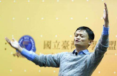 Founder and executive chairman of Alibaba Group, Jack Ma, gestures during a speech at National Taiwan University (NTU) in Taipei