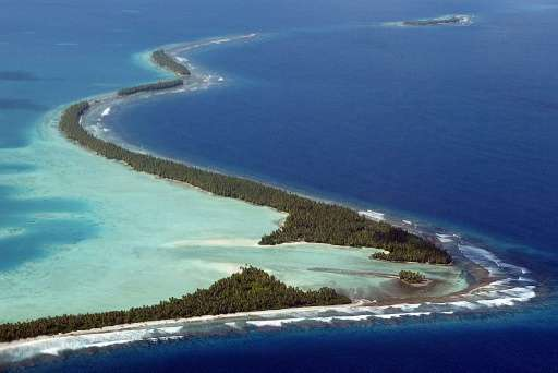 """Funafuti Atoll of Tuvalu, pictured here on February 19, 2004, joined the """"V20"""" group to marshal resources for the figh"""