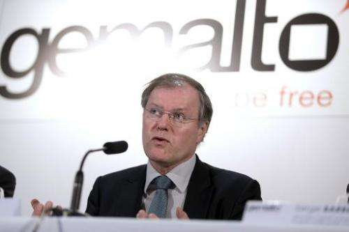 Gemalto CEO Olivier Piou gives a press conference in Paris on February 25, 2015