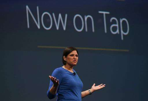 """Google Now director Aparna Chennapragada announces 'Now On Tap"""" during the 2015 Google I/O conference on May 28, 2015 in Sa"""