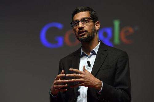 Google's Senior Vice President Sundar Pichai gives a keynote address during the opening day of the 2015 Mobile World Congress (M