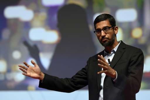 Google's then Senior Vice President, Sundar Pichai, gives a keynote address during the opening day of the 2015 Mobile World Cong