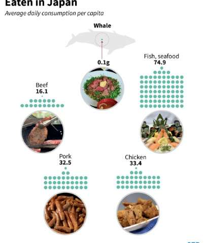Graphic on whale meat in the Japanese diet