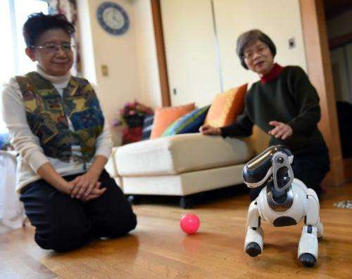 Hideko Mori (L) and her sister Yasuko watch their robot pet AIBO playing at Hideko's home in Tokyo