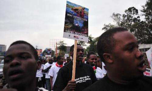 Hundreds of Kenyans join conservationists and activists for a march demanding action to stop soaring rhino and elephant poaching