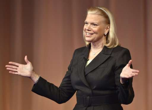 IBM Corporation Chairman Virginia Rometty, pictured on November 11, 2014, played down an earnings miss that hammered the technol