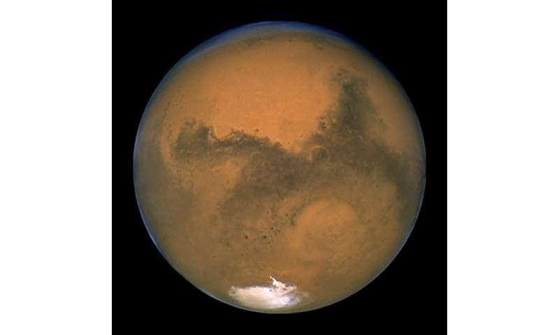 Image captured by NASA's Hubble Space Telescope shows a close-up of the Red Planet Mars when it was just 34,648,840 miles away