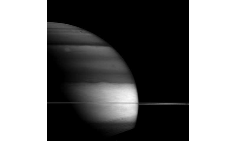 Image: Darkness descending on Saturn