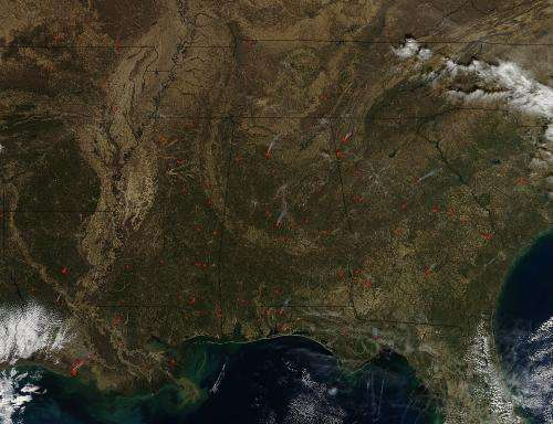 Image: Fires dot the southeastern United States