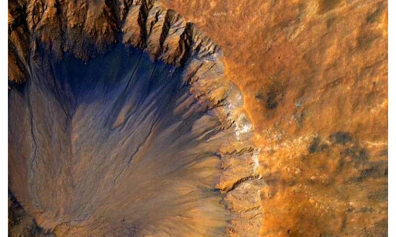 Image: Fresh crater near Sirenum Fossae region of Mars