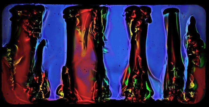 Image: How liquids of different densities behave in weightlessness