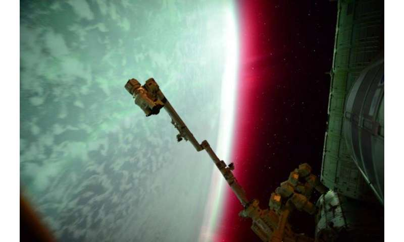 Image: Lights of an aurora from the International Space Station