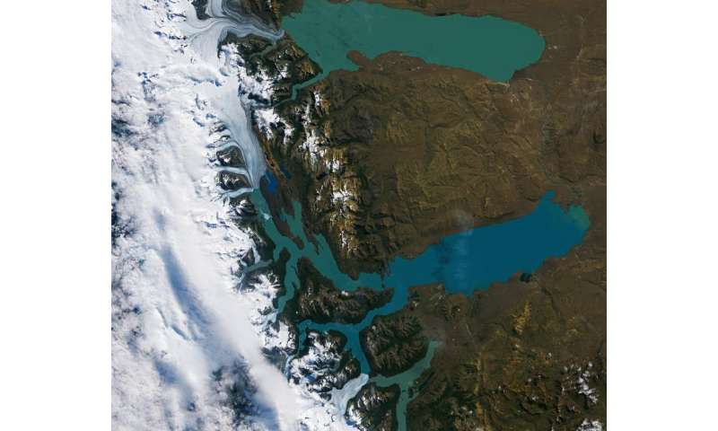 Image: Los Glaciares National Park, Argentina, from orbit