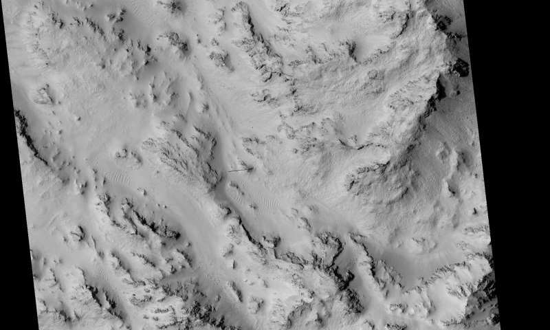 Image: Seasonal flows in the central mountains of Hale Crater