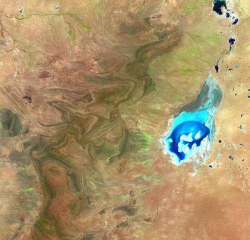 Image: Shimmering salt lake seen by Proba-v
