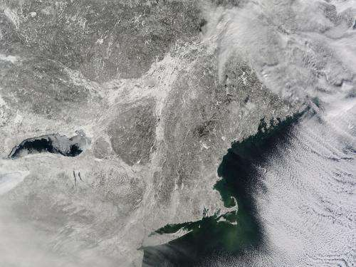Image: Snow-covered northeastern United States