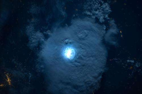 Image: Striking lightning from space