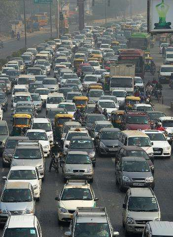 Indian motorists clog a highway in New Delhi in 2015
