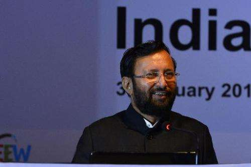 India's Environment Minister, Prakash Javadekar speaks during India's climate policy conference in New Delhi on February 3, 2015