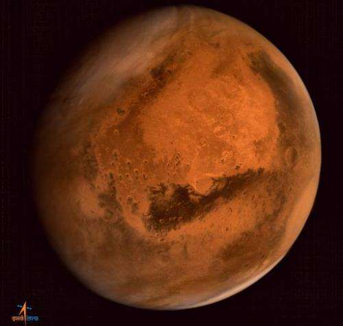 In this handout photograph received from the Indian Space Research Organisation (ISRO), Mars is seen in an image taken by the IS