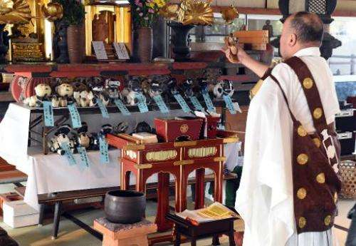 Kofuku-ji temple chief priest Bungen Oi (R) offers a prayer during the funeral for 19 Sony's pet robot AIBOs, in Isumi, Japan's