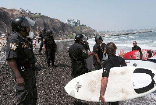 Lima authorities say the rocks it has placed on the beach are a temporary measure taken because of tidal wave warnings