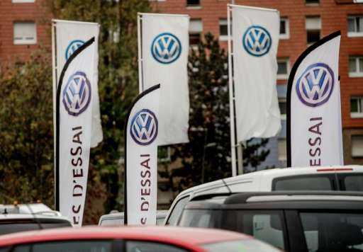 Logos of German car maker Volkswagen are pictured at a sales branch in Dunkerque (Dunkirk), northern France, on November 4, 2015