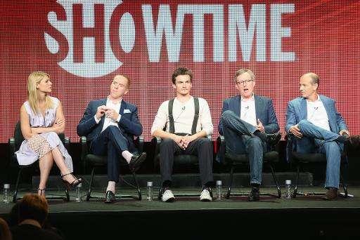 (L-R) Actors Claire Danes, Damian Lewis, Rupert Friend, executive producer Alex Gansa and executive producer Howard Gordon speak