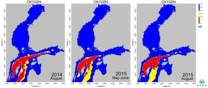 Major Baltic inflow was not enough to bring oxygen into all of the deep basins in the Baltic Sea main basin
