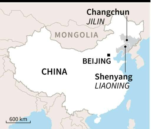 Map of China locating the cities of Changchun and Shenyang