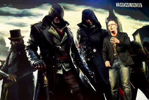 "Marc-Alexis Cote, a creative director for Ubisoft Quebec, announces the video game ""Assassin's Creed Syndicate"" before"